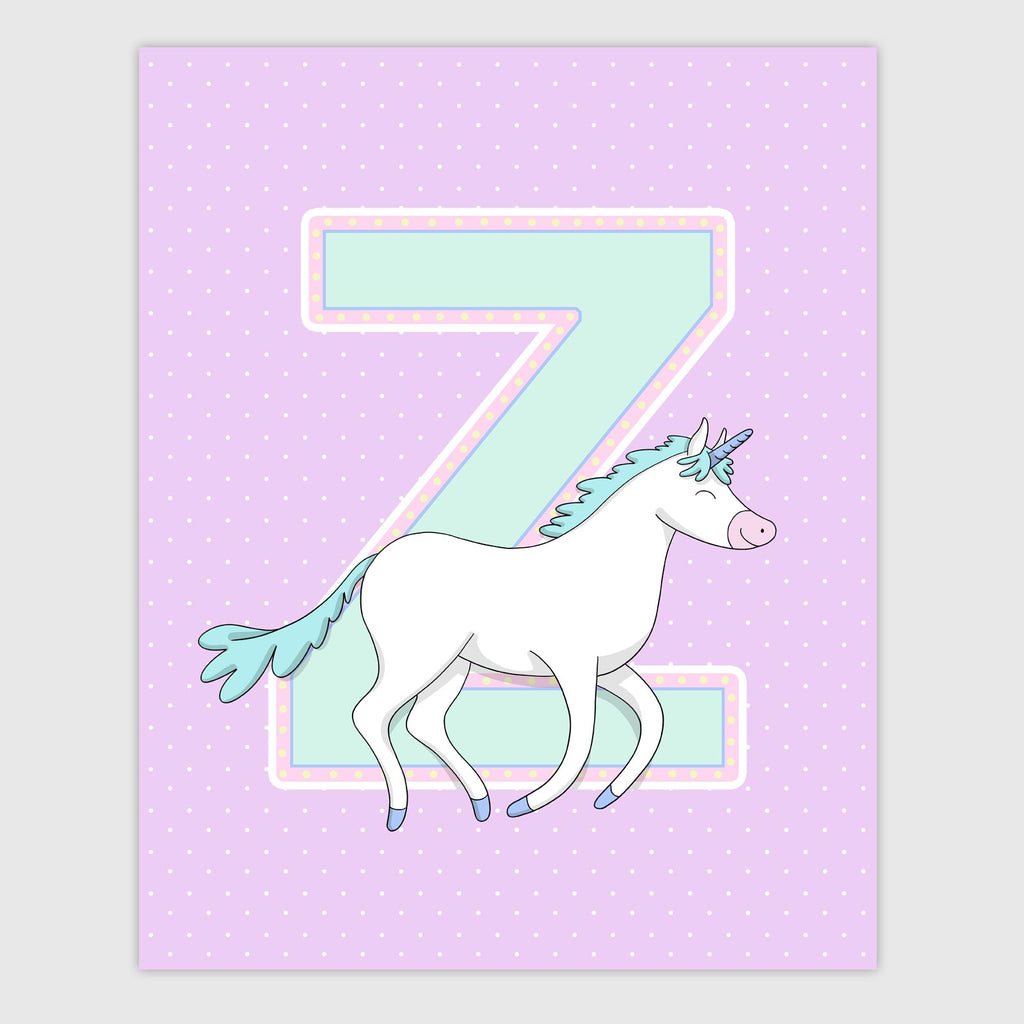 Unicorn Letter Print | Sherbet Color