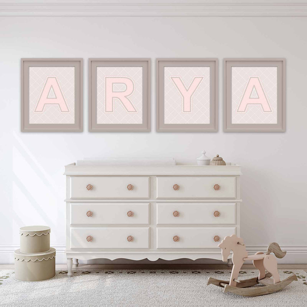 Name art above dressser in nursery