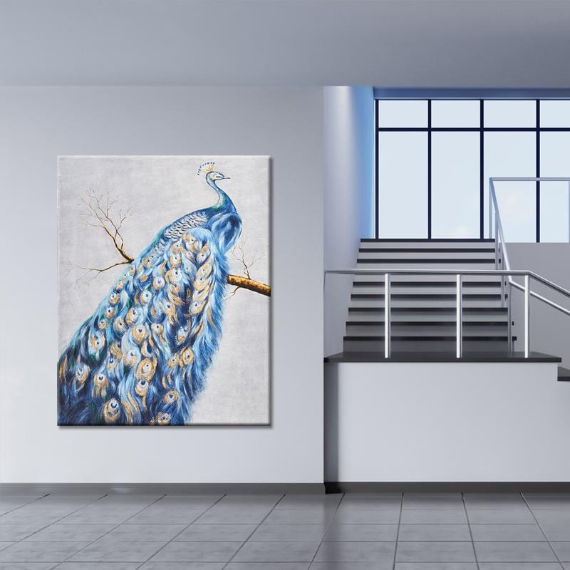 Peacock Feathers Stretched Canvas