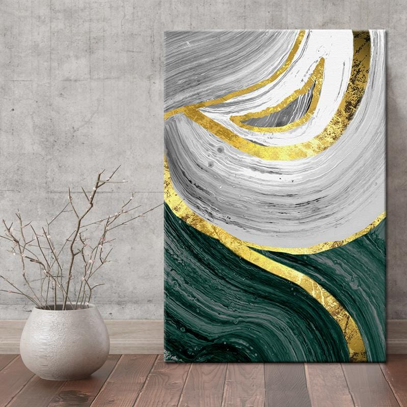 Golden Greens Stretched Canvas