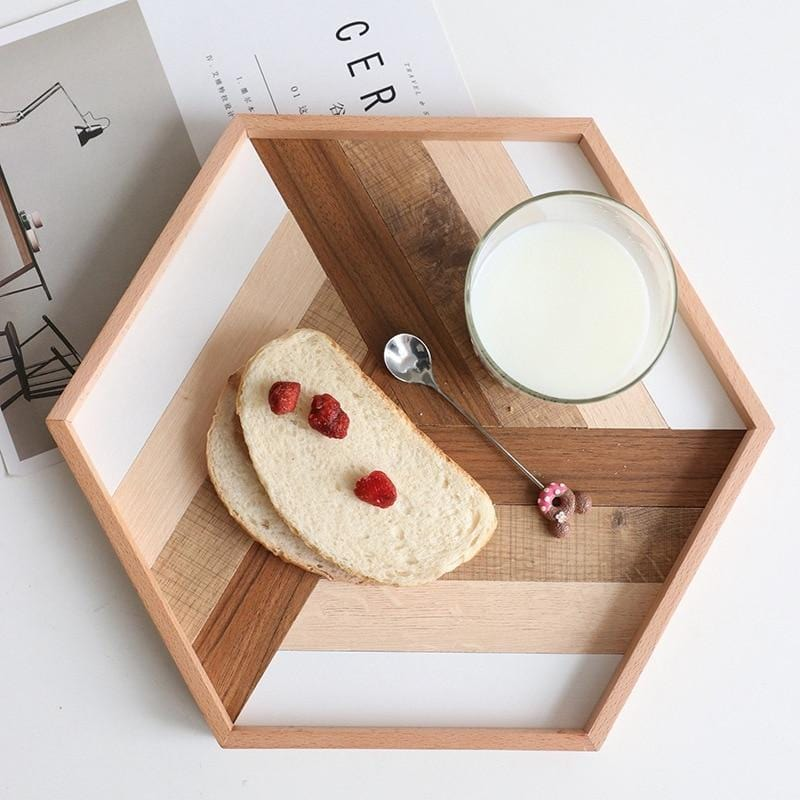 Geometry Splice Wooden Serving Tray