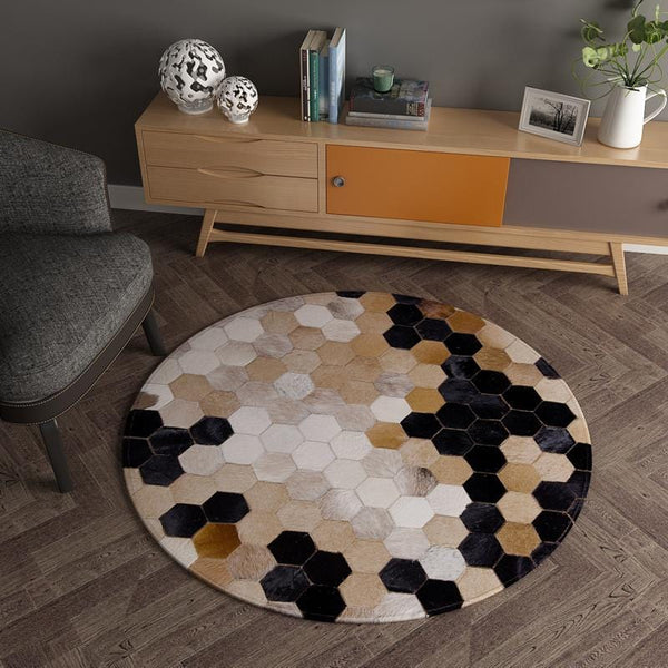 Dark Magic Euclid Cowhide Rug