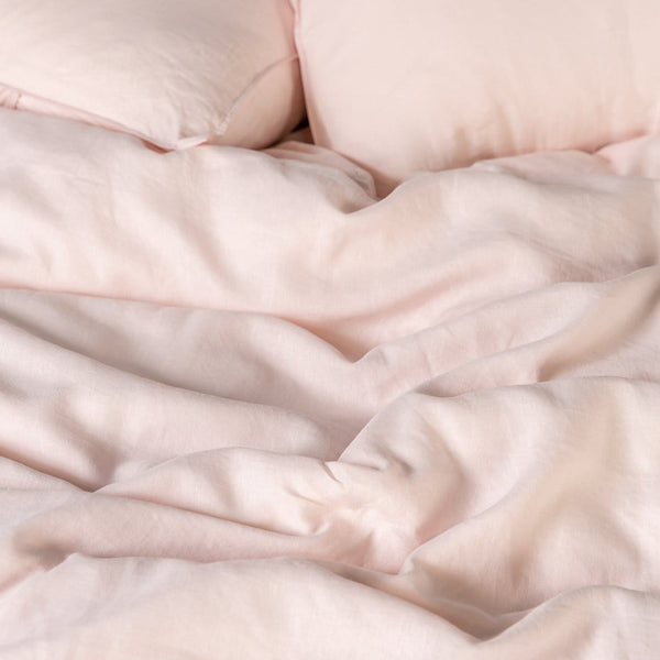 Blush European Linen Duvet Cover Set
