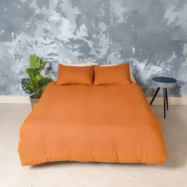 European Linen Duvet Cover Set (Mustard)