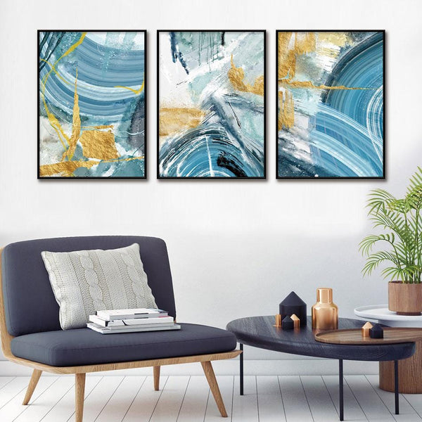 Teal Of Swirls Stretched Canvas