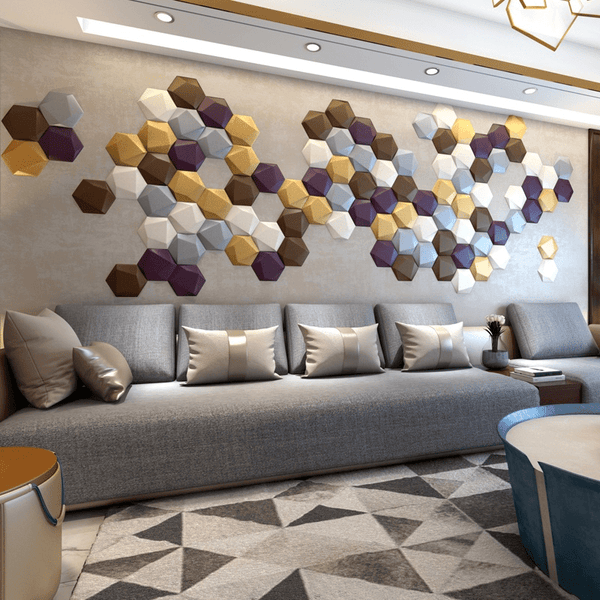 Multi Shaped Hexagon Acoustic 3D Wall Panel