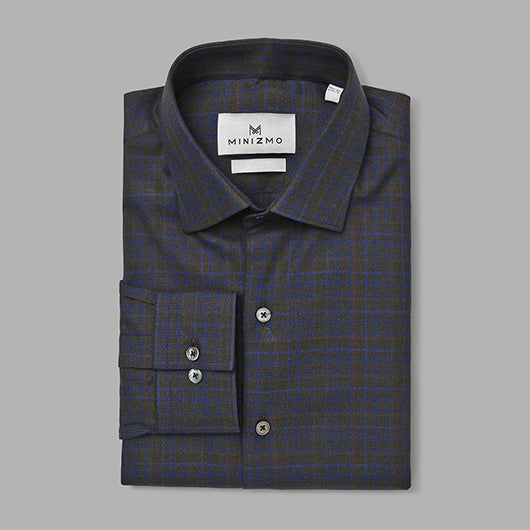 Aspen Dark Grey Brushed Cotton Check Shirt