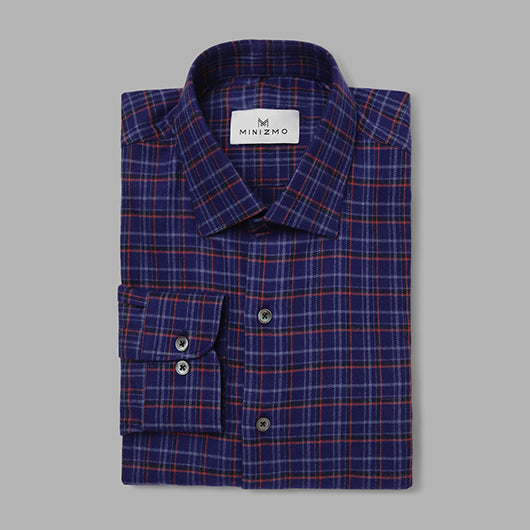 Lumbar Blue & Red Brushed Cotton Check Shirts
