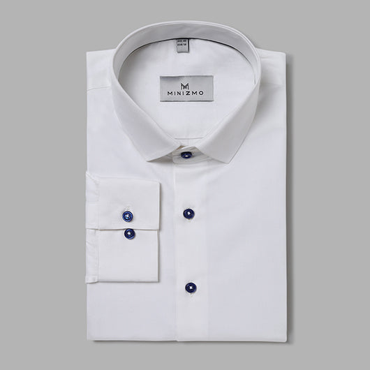 Paris White Formal Shirt with Black Buttons