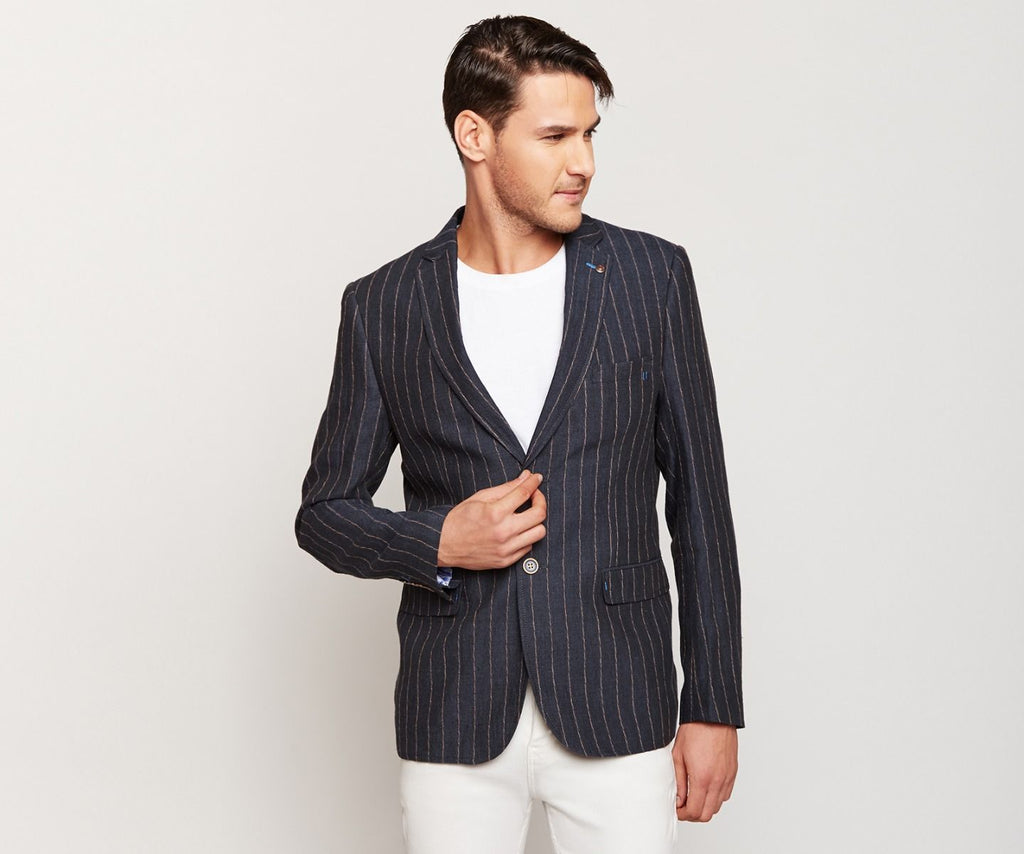 Navy Blue Pink Stripes Linen Blazer