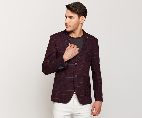 Violet Checks Linen Blazer
