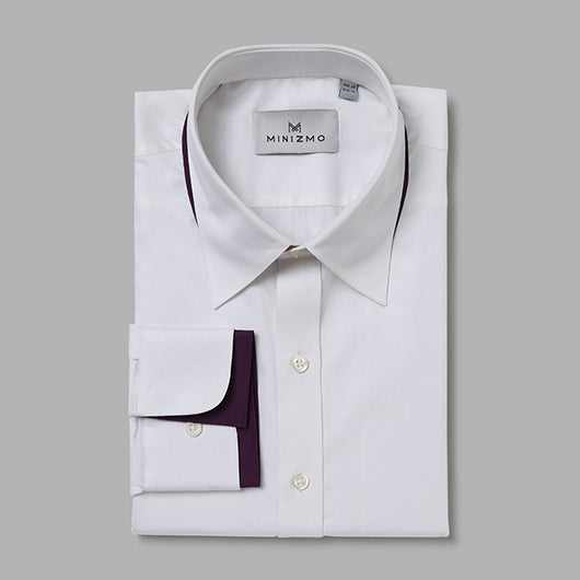 Tods White Dress Shirt with Purple Detailing