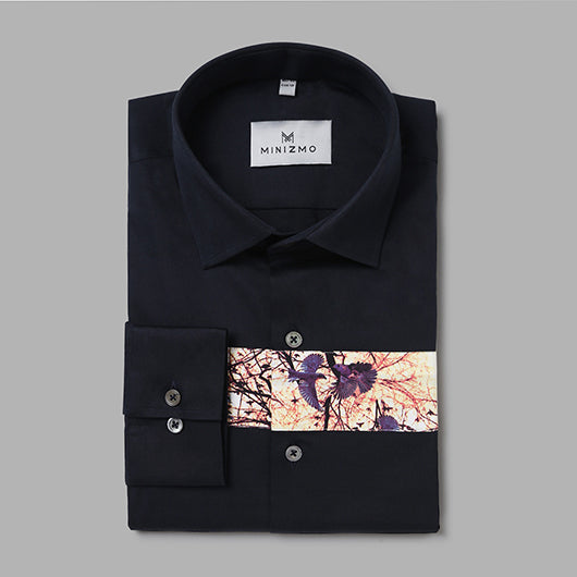 Lavo Mens Navy Blue Shirt with Partial Print