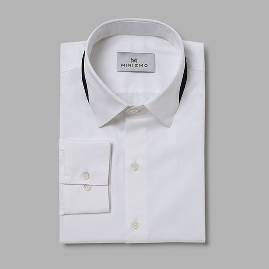 Spirit White Cotton Shirt with Black Collar Detailing