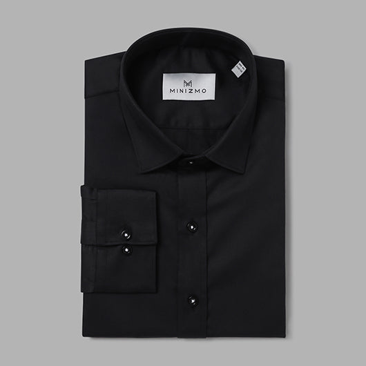 Atlanta Black Cotton Shirt with Sleeve Details