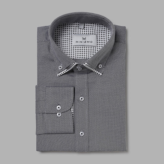 Hue Formal Grey Shirt with Contrast Double Collar