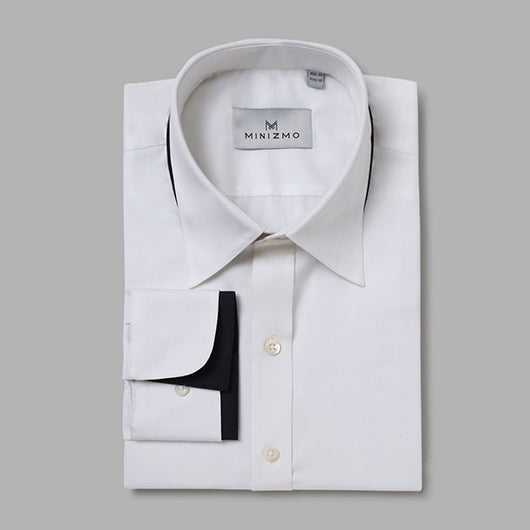 Hamilton White Dress Cotton Shirt with Black Detailing