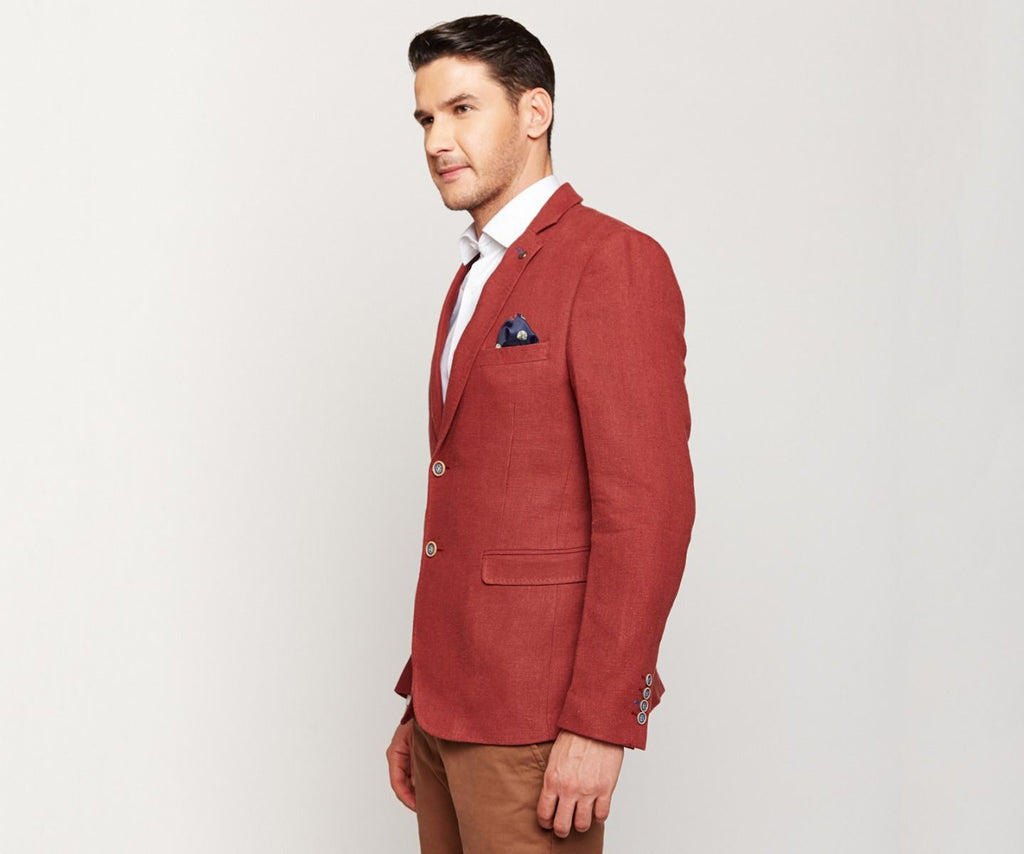 Brick Red Linen blazer