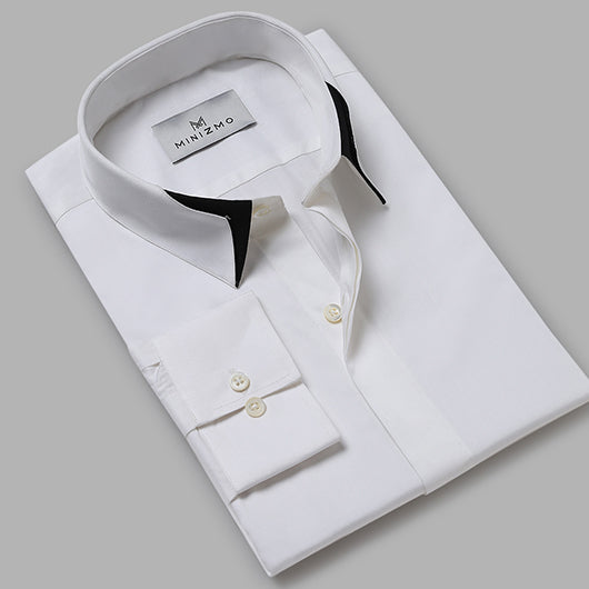 Monaco White Cotton Dress Shirt