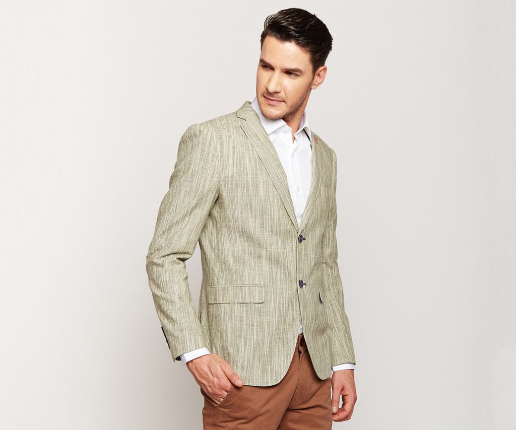 Dark Grey Stripes Linen Blazer