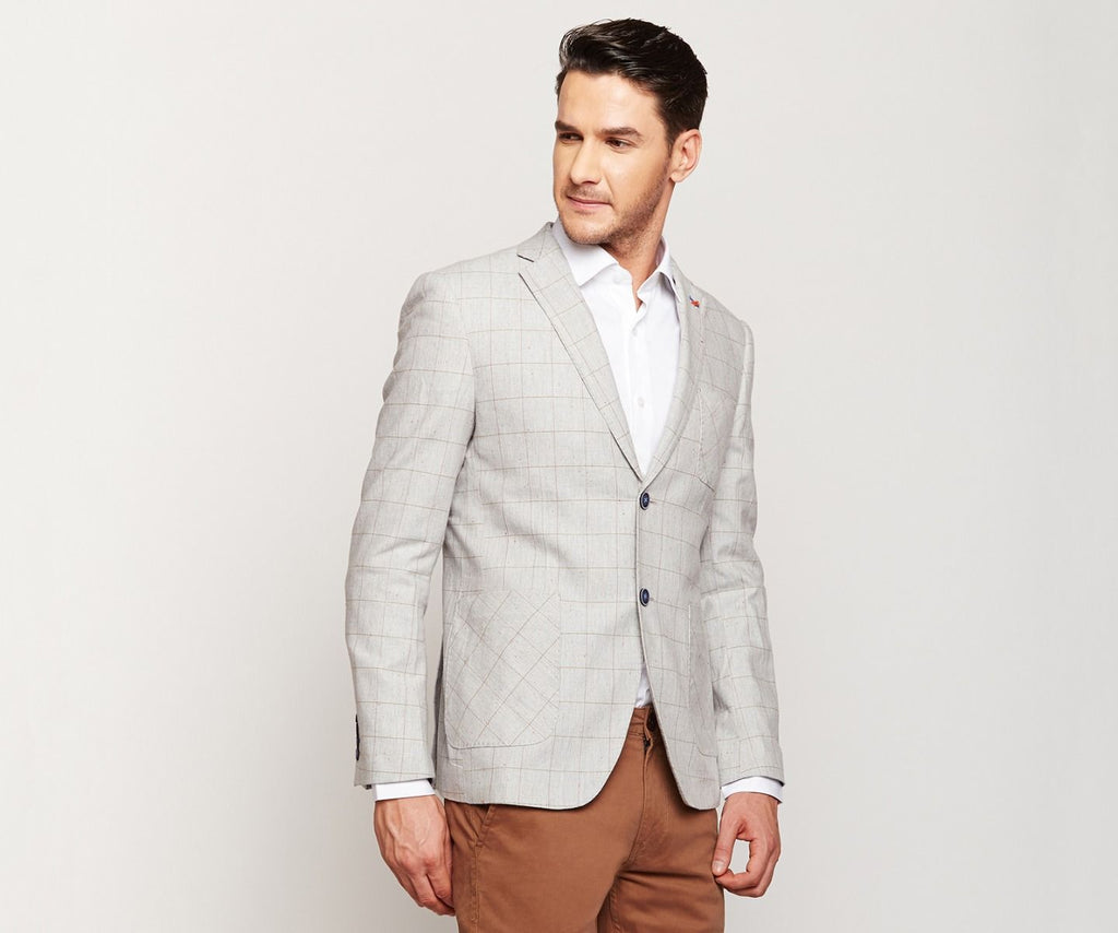 Light Grey Checks Linen Blazer