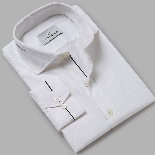 Floyd White Cotton Shirt with Black Detailing