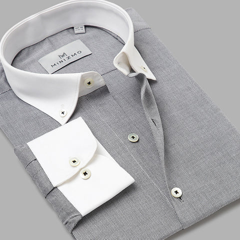 Brooklyn Grey Cotton Banker Shirt