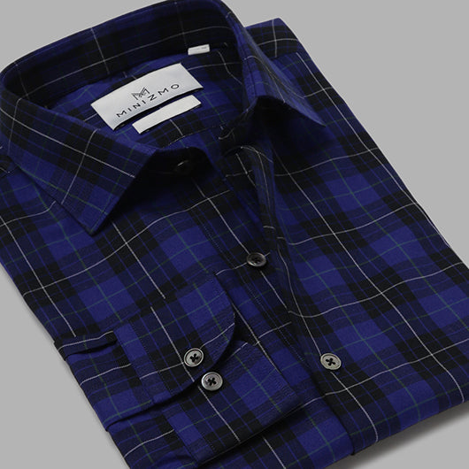 Hawthorn Blue & Black Brushed Cotton Check Shirt