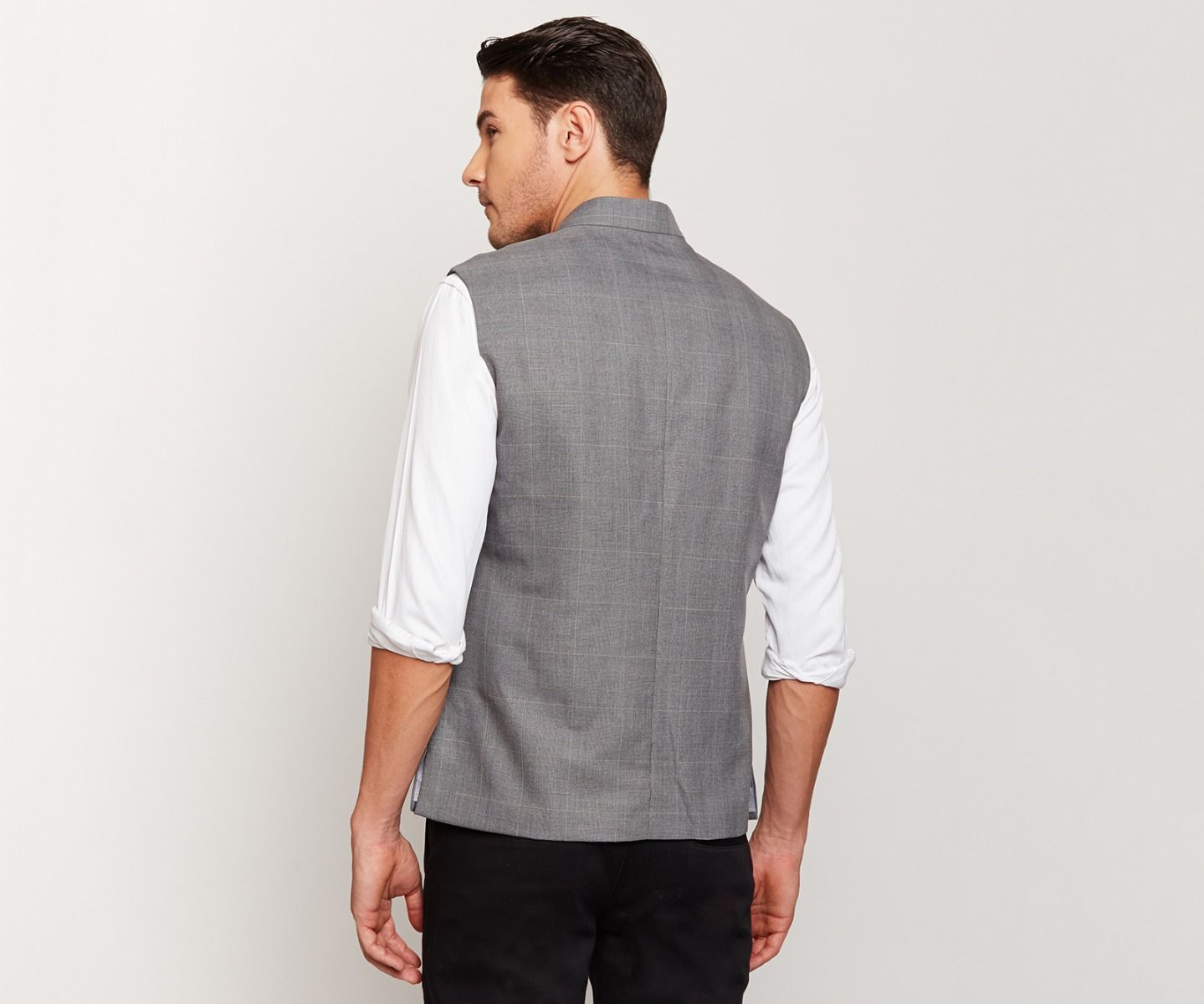 Dark Grey Checks Nehru Jacket