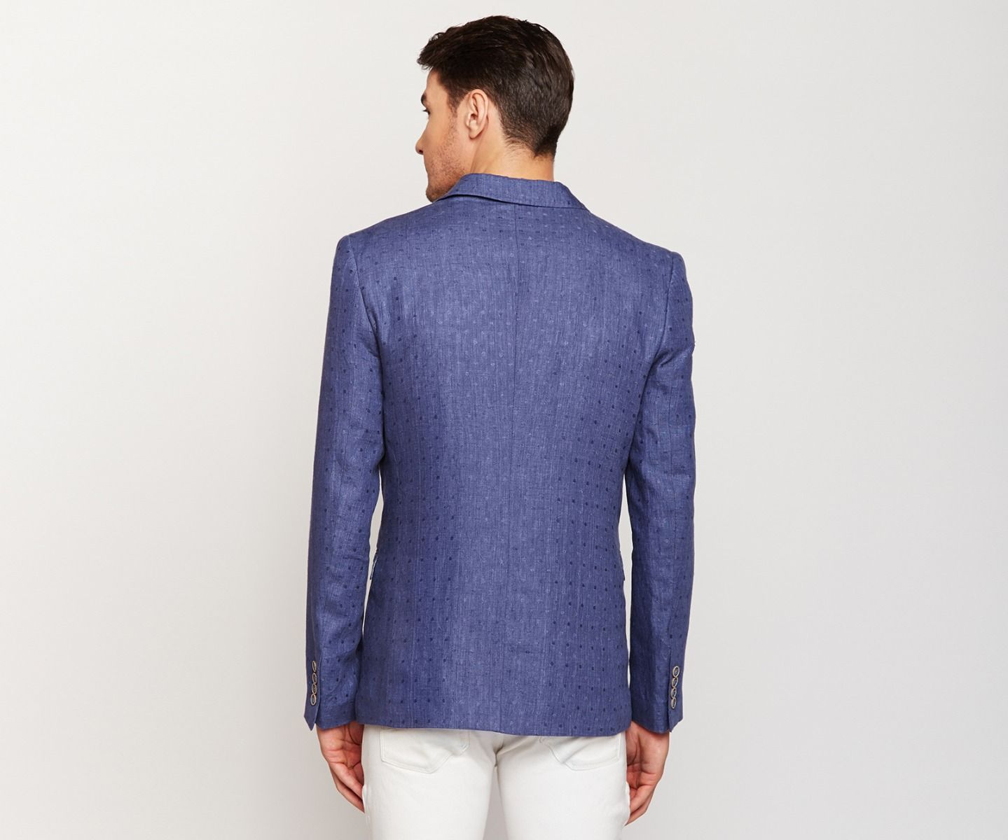 Royal Blue Textured Linen Blazer