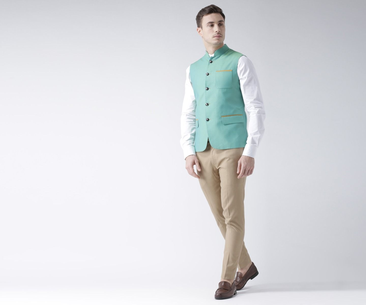 Trendy Green Nehru jacket