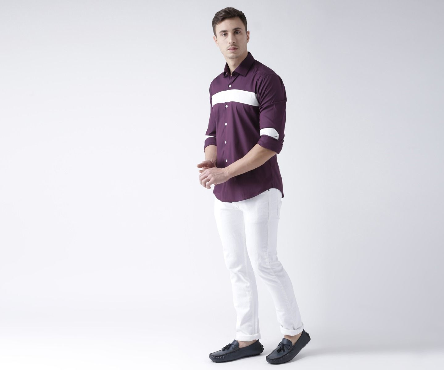 Purple and white shirt
