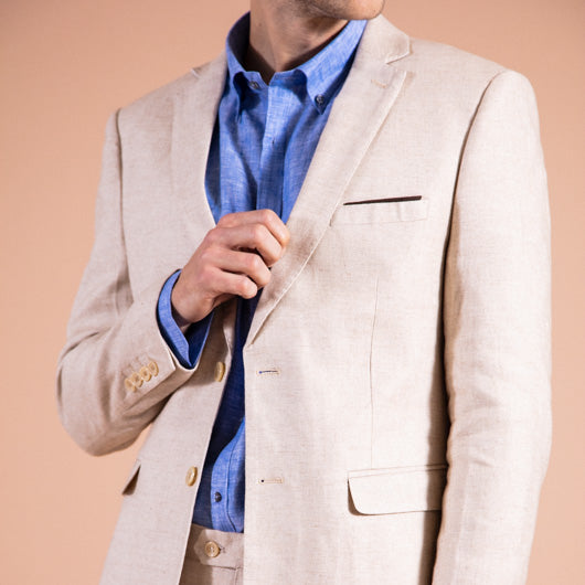 Spirited Sand Beige Linen Two-Piece Suit