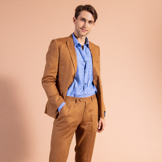 Voyager Tan Linen Two-Piece Suit