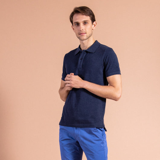 Rugged Slate Dark Blue Cotton Polo T-Shirt