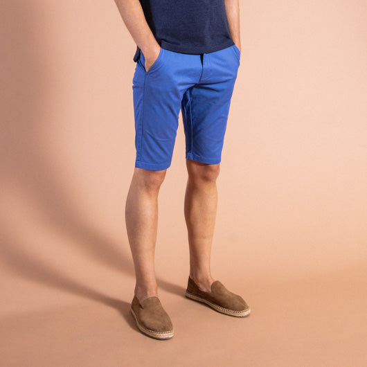 Atlantic Cruise Blue Cotton Lycra Stretch Shorts