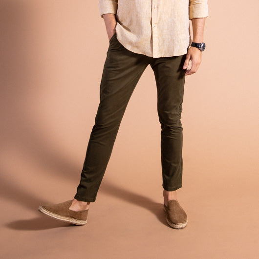 Whiskey & Grit Olive Brown Cotton Lycra Stretch Chinos