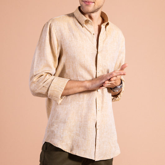 Escapade Sandstone Brown Linen Shirt