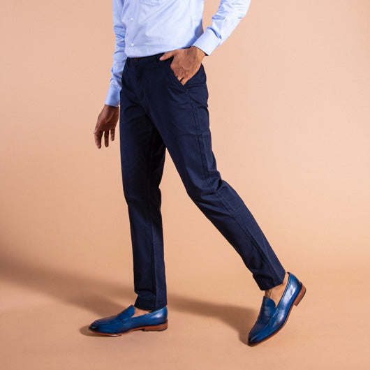 Prussian Blue Midnight Blue Cotton Lycra Stretch Chinos