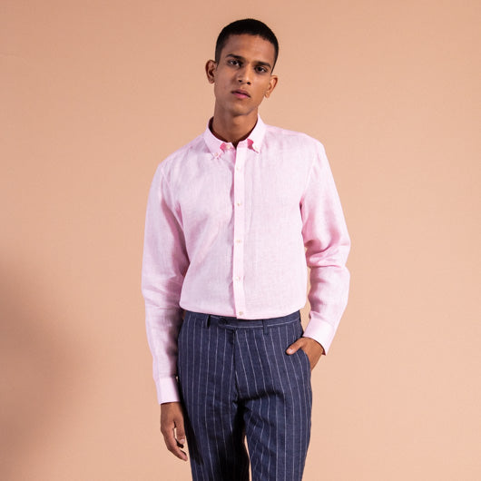 Mantis Sea Shell Pink Linen Shirt