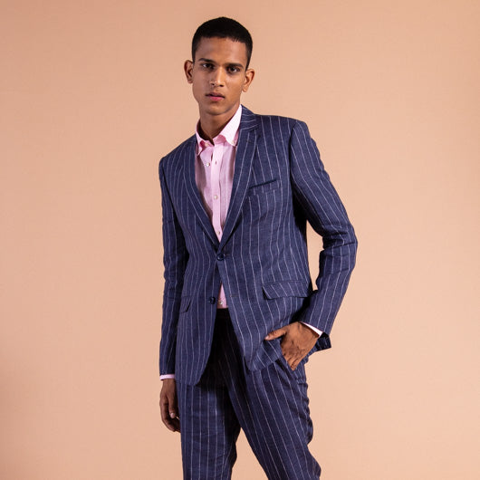 Nautical Blue Pinstriped Linen Suit