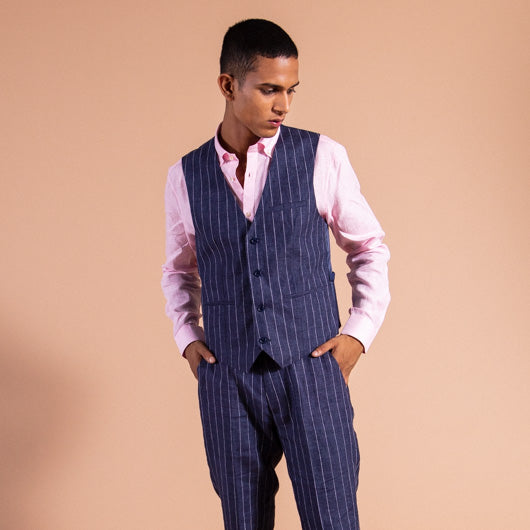 Nautical Blue Pinstriped Linen Waistcoat