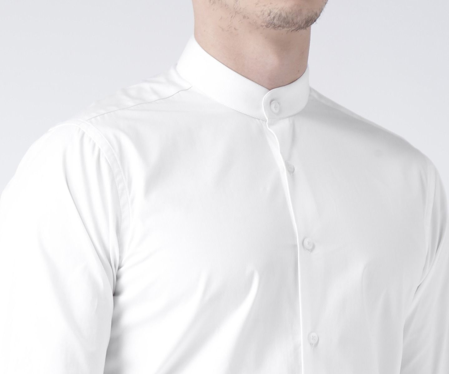 Solid white shirt(Band Collar)