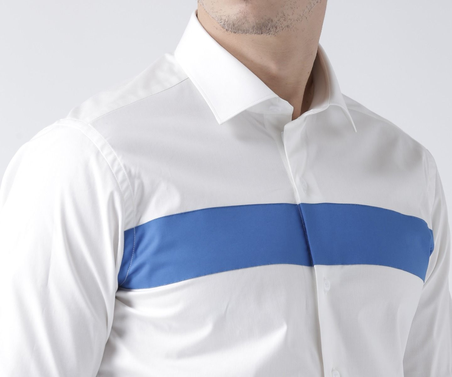 White and electric blue shirt