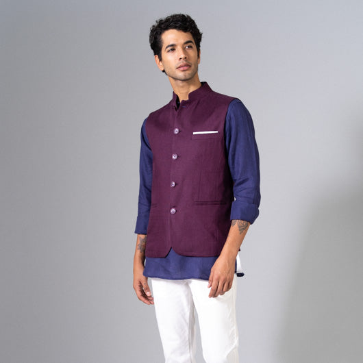 Sunset Escape Purple Linen Nehru Jacket