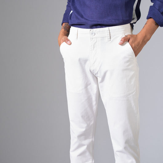 Gin & Tonic White Cotton Lycra Stretch Chinos