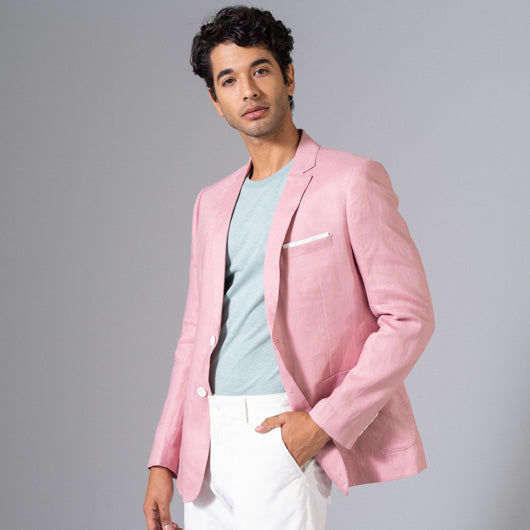 Bermudan Sands Light Pink Linen Blazer