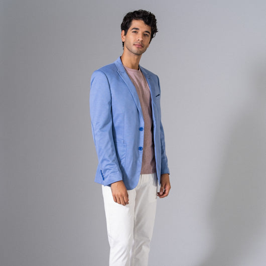 Tropical Waters Light Blue Linen Blazer