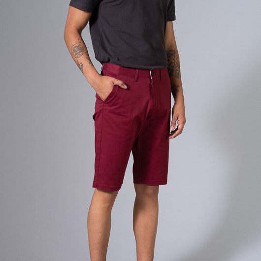 Red Sangria Red Cotton Lycra Stretch Shorts