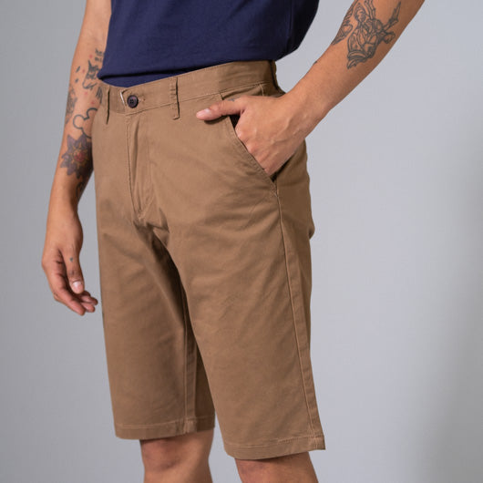 Roasted Umber Light Brown Cotton Lycra Stretch Shorts